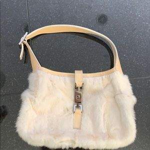Gucci off white rabbit fur purse